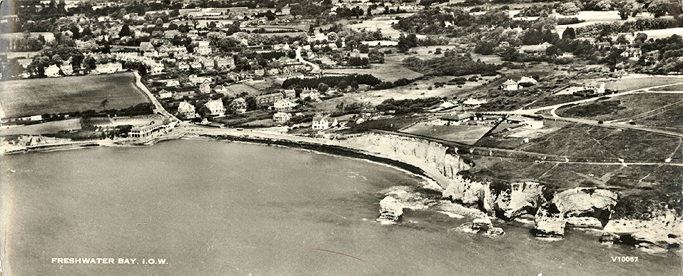 Wide aerial view of Freshwater Bay